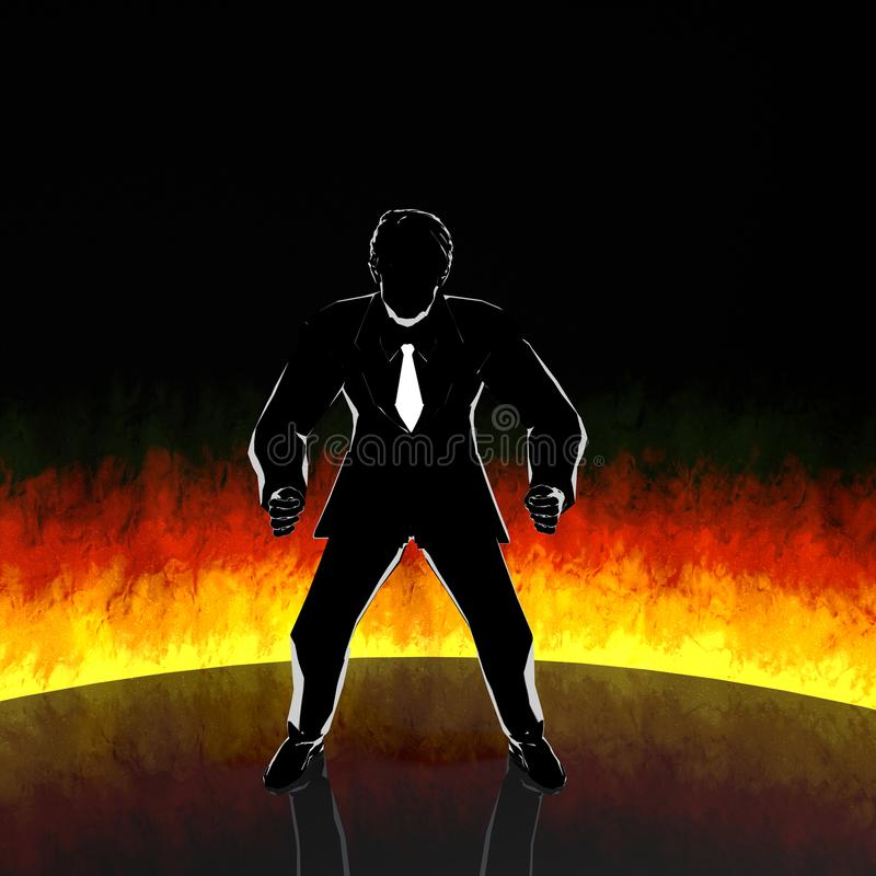 Businessman / motivation / fire / 3D rendering. A motivated businessman. Burning fighting spirit. Motivation goes up and I work hard. The work has become vector illustration