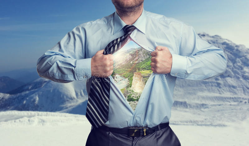 Businessman with mountains inside royalty free stock photography