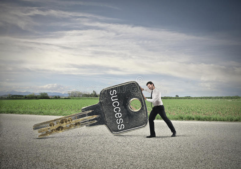 Businessman Moving The Success Stock Photo