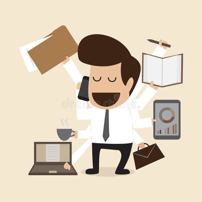 Download Businessman With Multi Tasking And Multi Skill Stock Vector - Image: 32971815