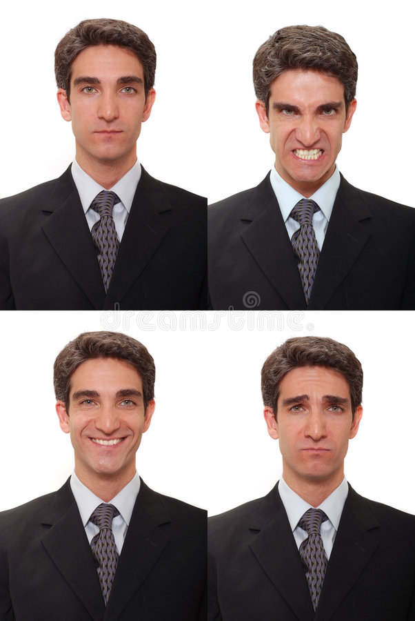 Businessman with multiple expressions royalty free stock photos