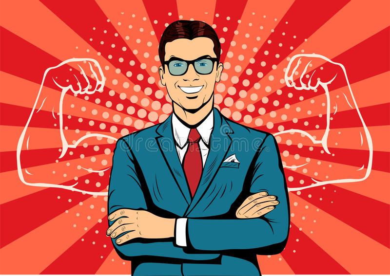 Businessman with muscles pop art illustration. Businessman with muscles currency dollar pop art retro style. Strong Businessman in glasses in comic style vector illustration
