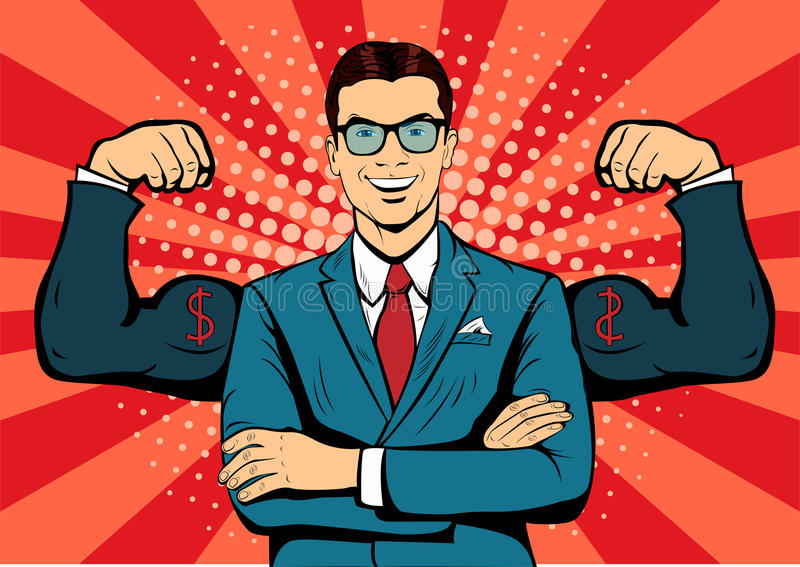 Businessman with muscles pop art illustration. Businessman with muscles currency dollar pop art retro style. Strong Businessman in glasses in comic style royalty free illustration