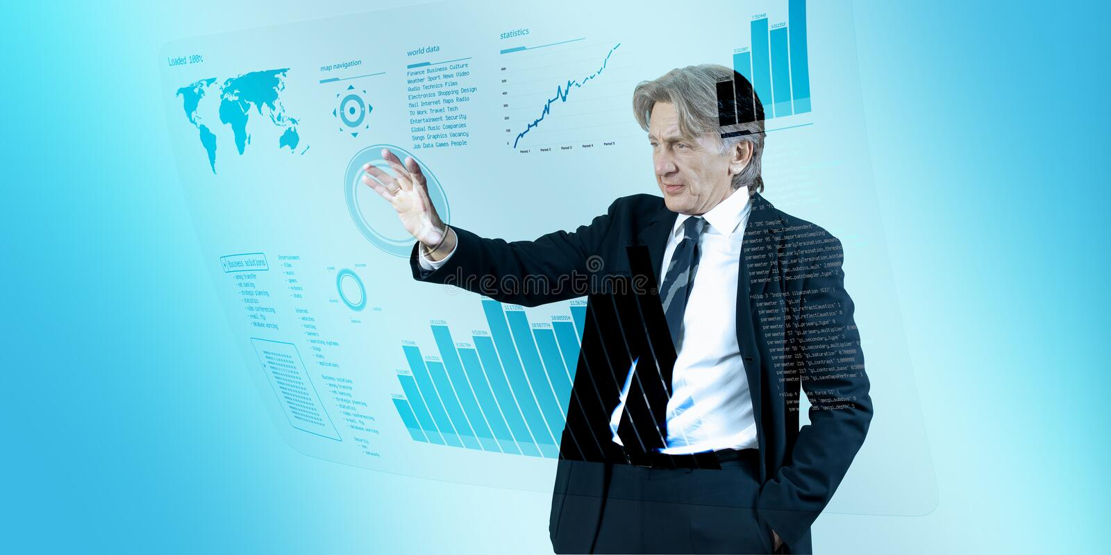 Businessman navigating interface in future royalty free stock images