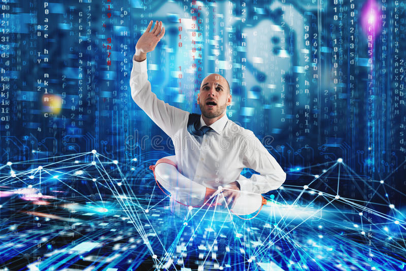 Businessman needs help to surf the internet. Internet exploration problem concept. Businessman with lifebelt needs help to surf the internet. Internet stock photos