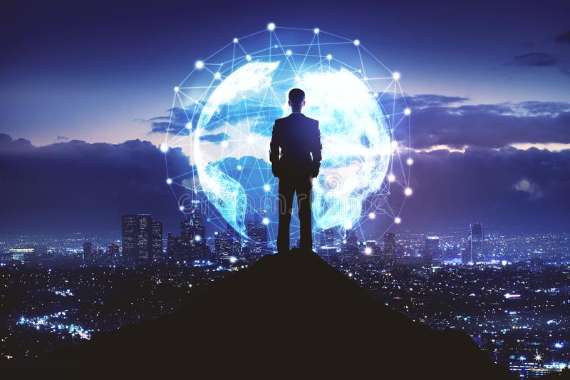 Businessman and network global connection. Internet network, global communication and travel business concept with businessman standing on the rock and city view vector illustration