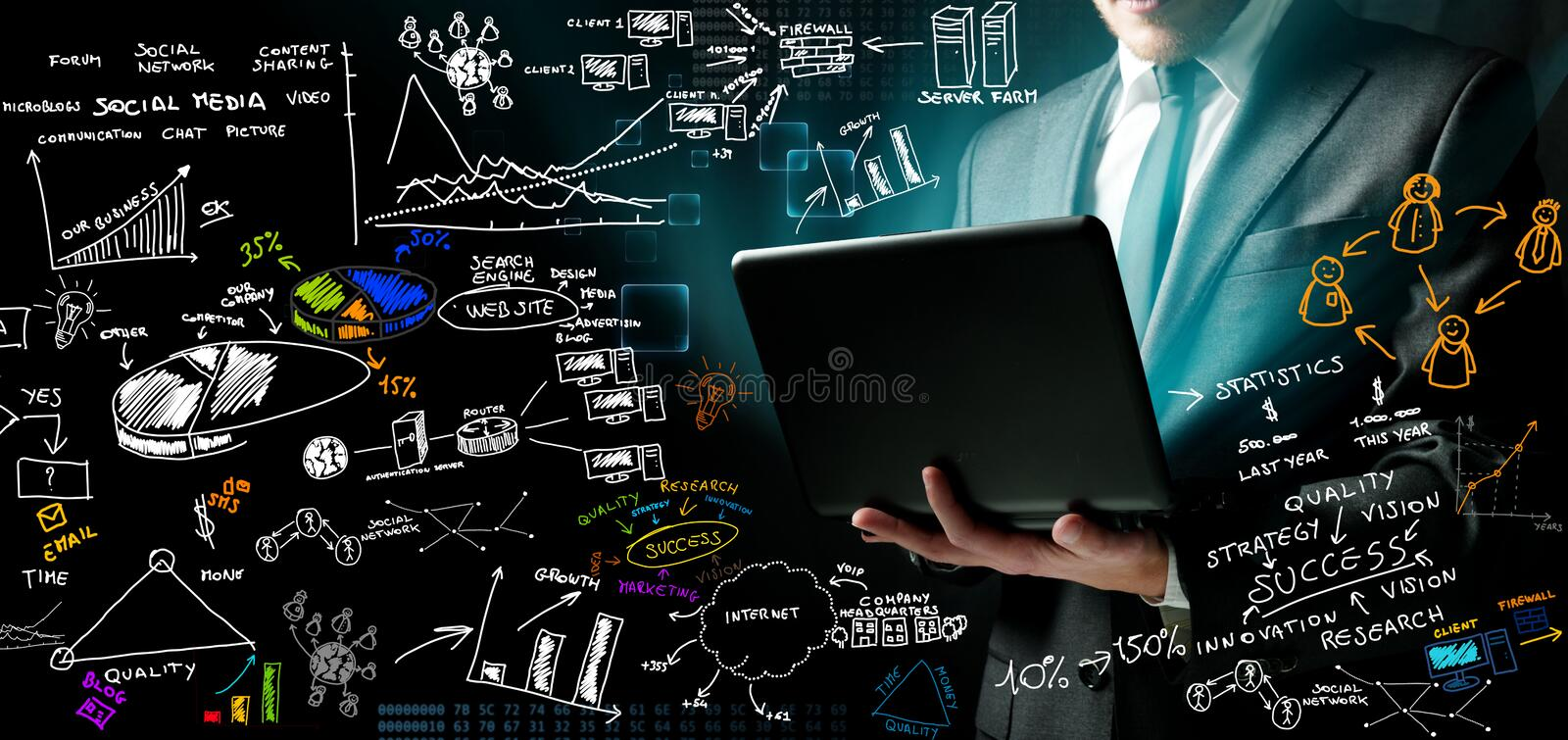 Businessman and new ideas. Businessman at work with ne ideas royalty free stock images