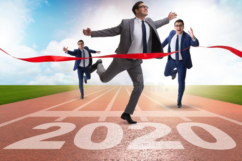 Businessman in new year 2020 concept. Businessman in the year 2020 concept stock images