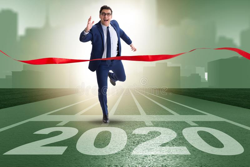 Businessman in new year 2020 concept royalty free stock photo