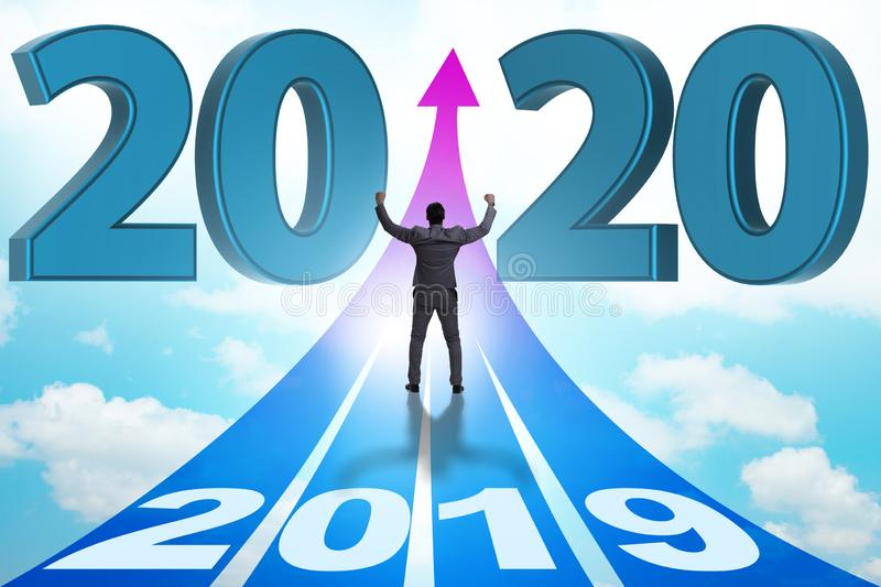 Businessman in new year 2020 concept stock photos