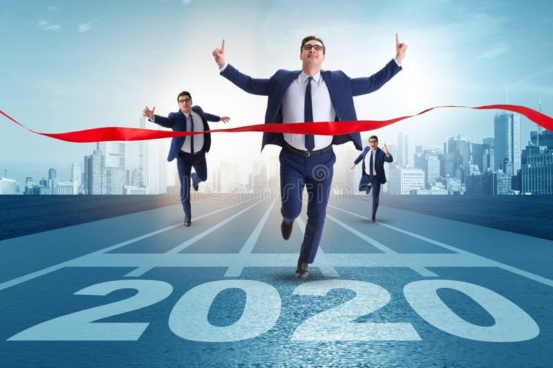 Businessman in new year 2020 concept royalty free stock images