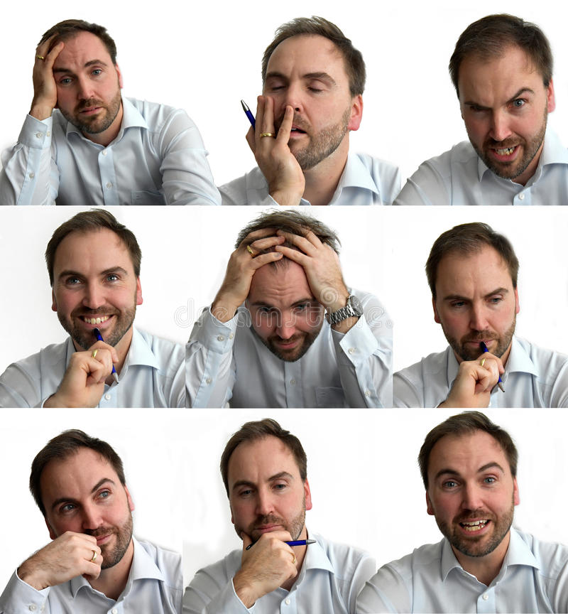Businessman. Nine different facial expressions of a young businessman, Collage stock photo