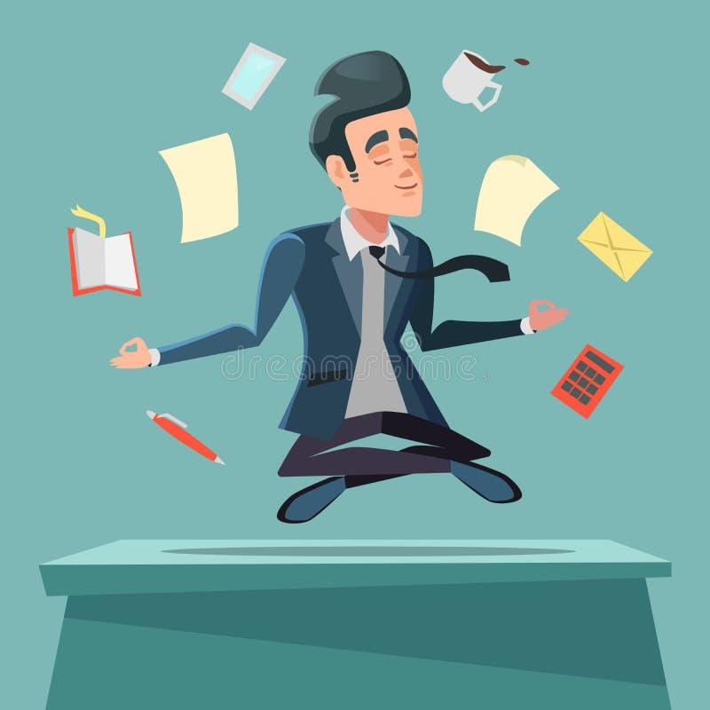Businessman in Nirvana at Office Work. Man Meditating vector illustration
