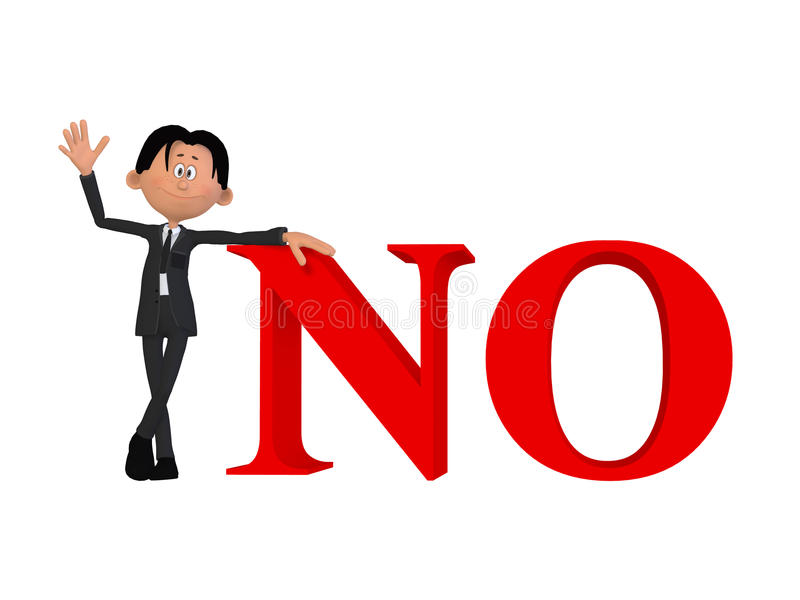 A businessman with a NO 3d word royalty free illustration