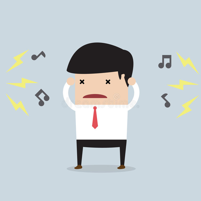 Businessman with noise vector illustration