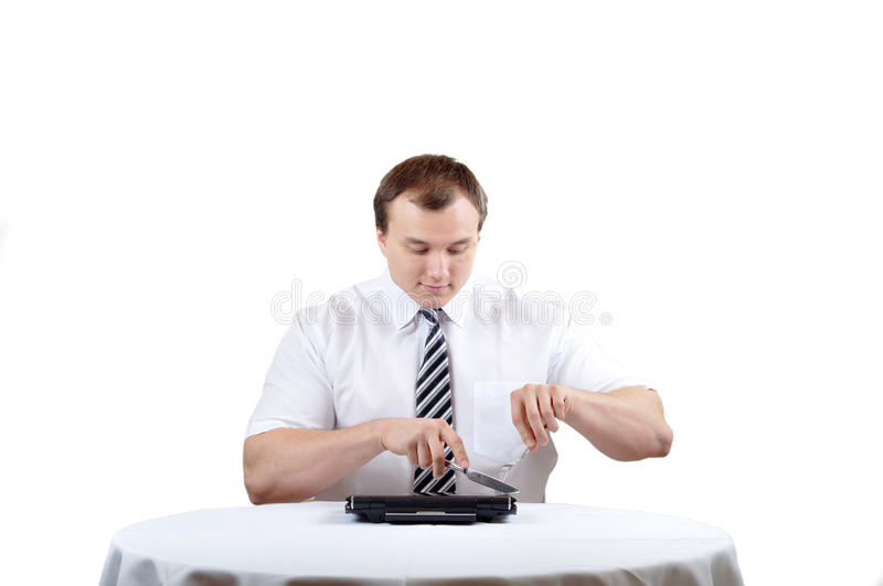 Businessman and notebook royalty free stock photography