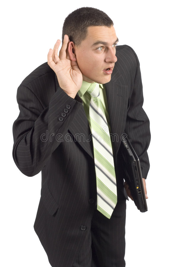 Businessman with notebook - eavesdropping royalty free stock photos