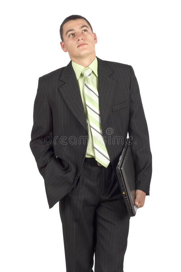Businessman with notebook - waiting royalty free stock image