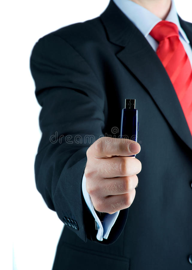 Businessman offering USB pen drive royalty free stock photos