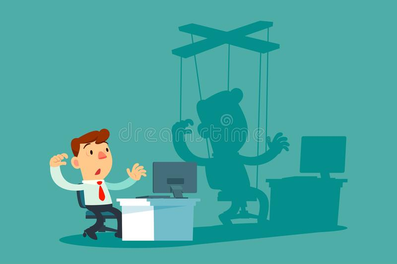Businessman at office desk and his shadow as puppet stock illustration
