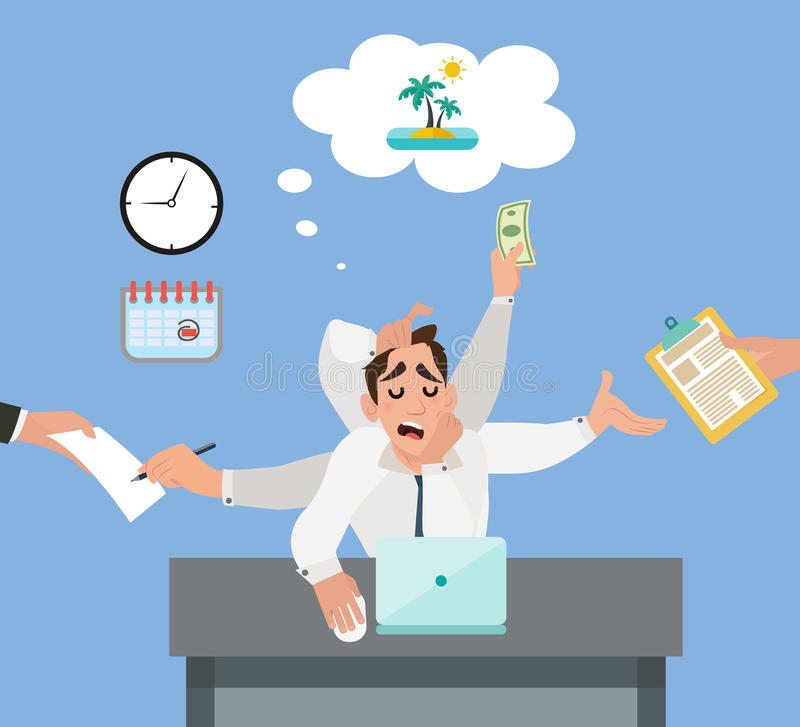 Businessman in the office dreaming about vacation stock illustration
