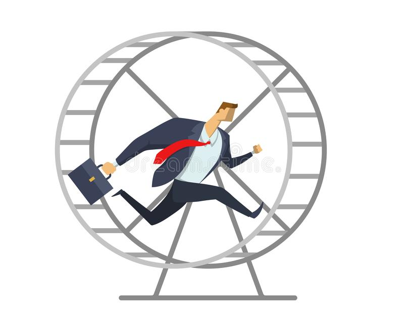Businessman in office suit running in a wheel like a squirrel. Running in place. Hurry up. Race for success. Concept vector illustration