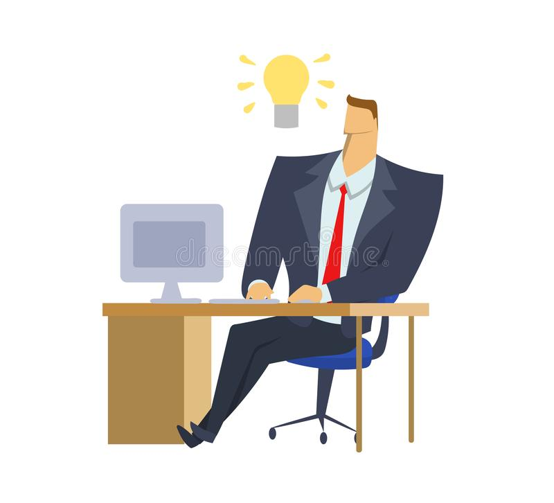 Businessman in office suit sitting in front of computer with a light-bulb of idea above his head. Light-bulb moment vector illustration