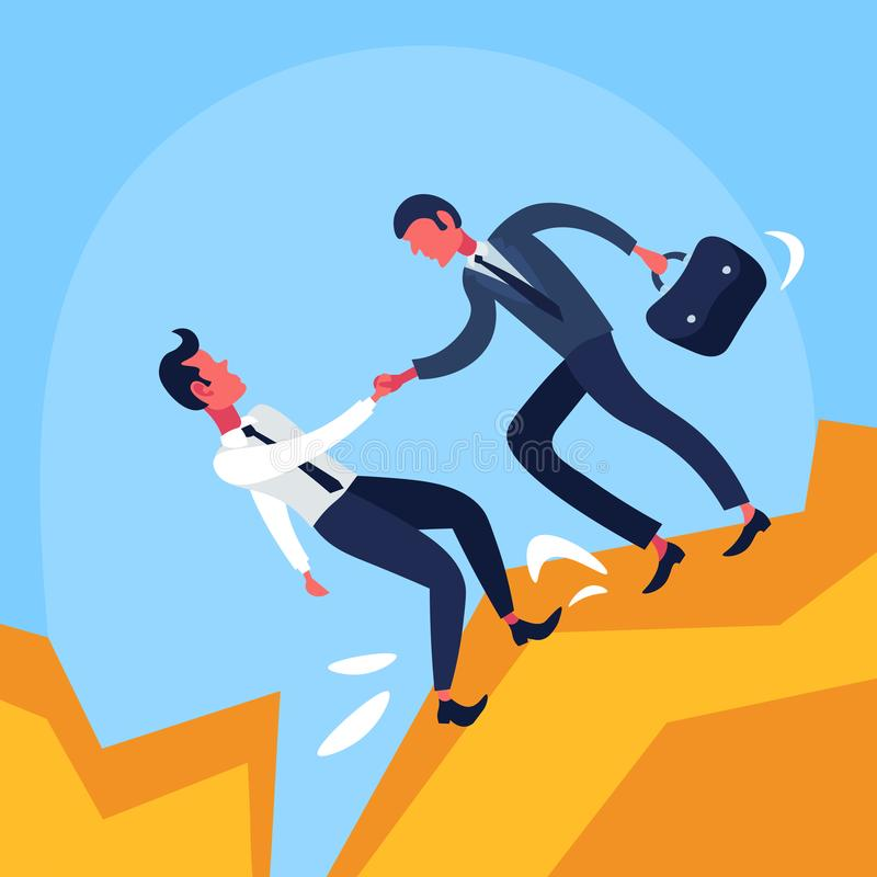 Businessman office worker giving colleague helping hand get out abyss financial crisis cartoon character flat. Vector illustration vector illustration