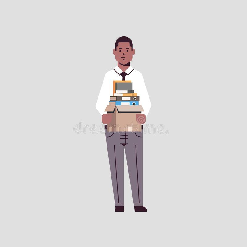 Businessman office worker holding box with stuff things new job business concept african american male cartoon character vector illustration