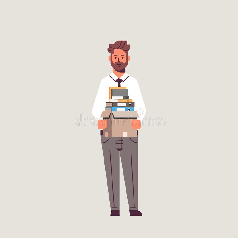 Businessman office worker holding box with stuff things new job business concept flat full length royalty free illustration