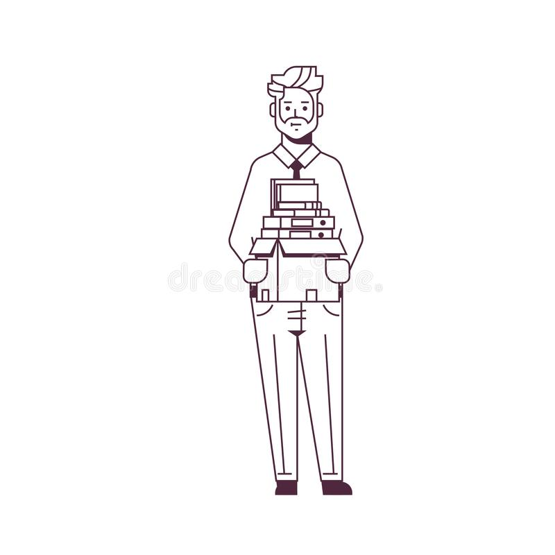 Businessman office worker holding box with stuff things new job business concept male cartoon character full length stock illustration