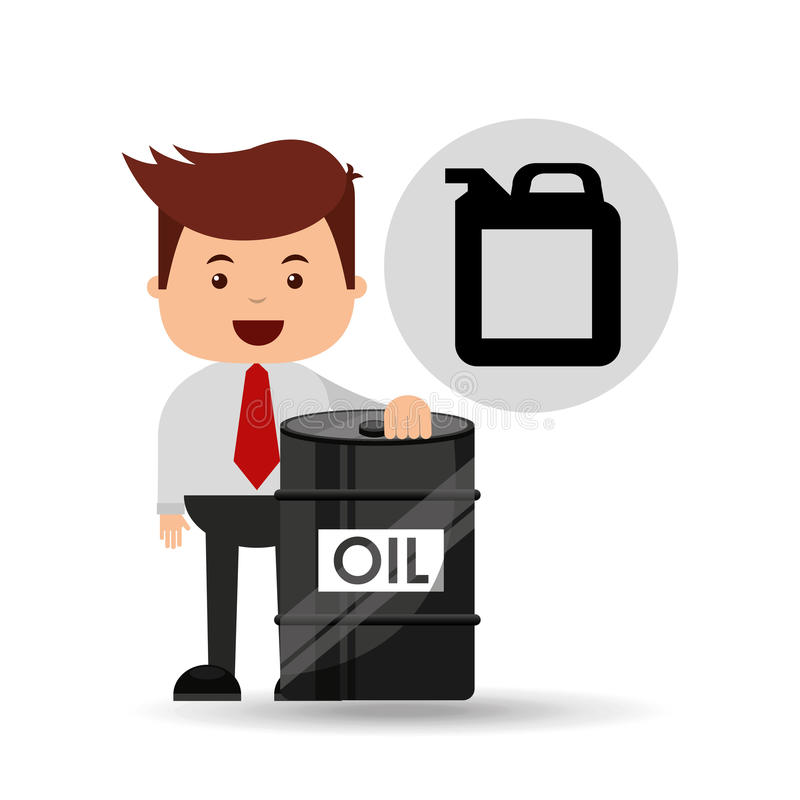 Businessman oil industry barrel gallon stock illustration