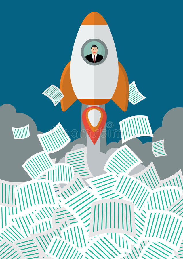 Free Businessman On Rocket Get Away From A Lot Of Documents Royalty Free Stock Photo - 62500555