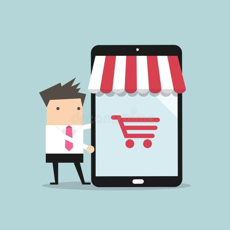 Businessman with online shop on tablet stock illustration