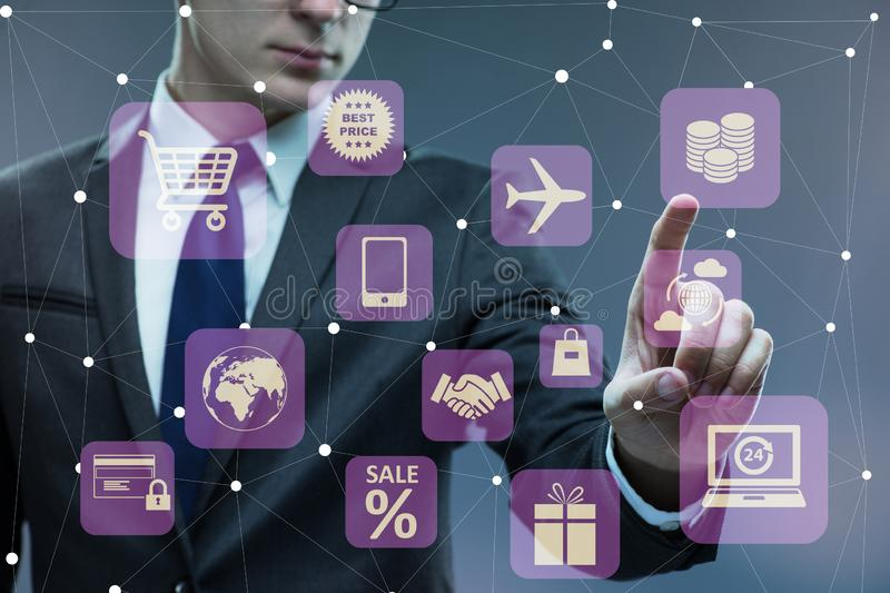 The businessman in online trading and shopping concept royalty free stock photography