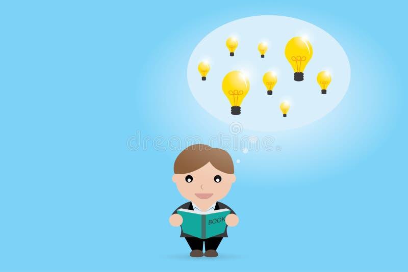Businessman open book to find idea, idea concept royalty free illustration