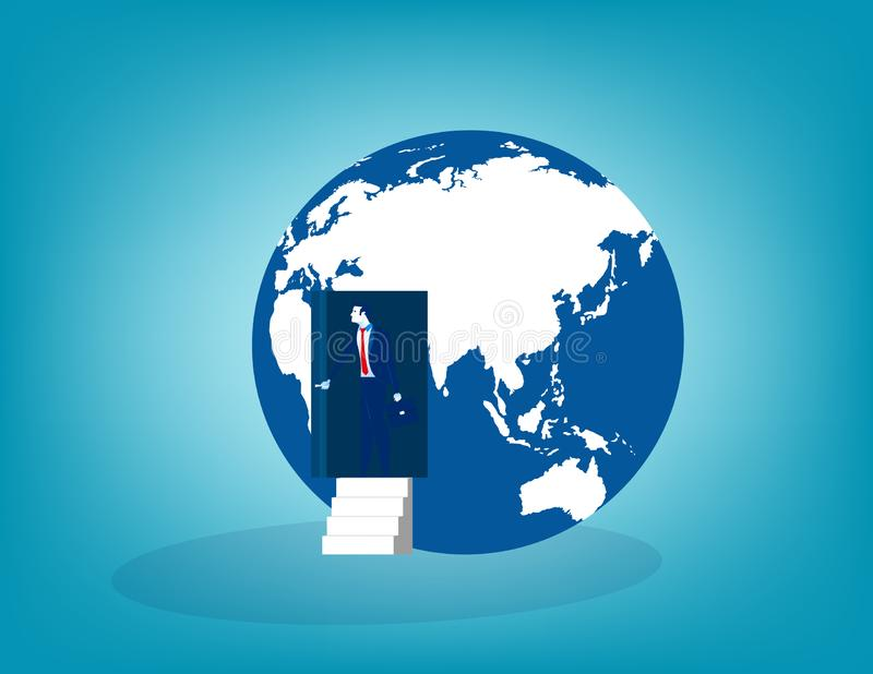 Businessman open door from the globe. Concept business vector illustration royalty free illustration