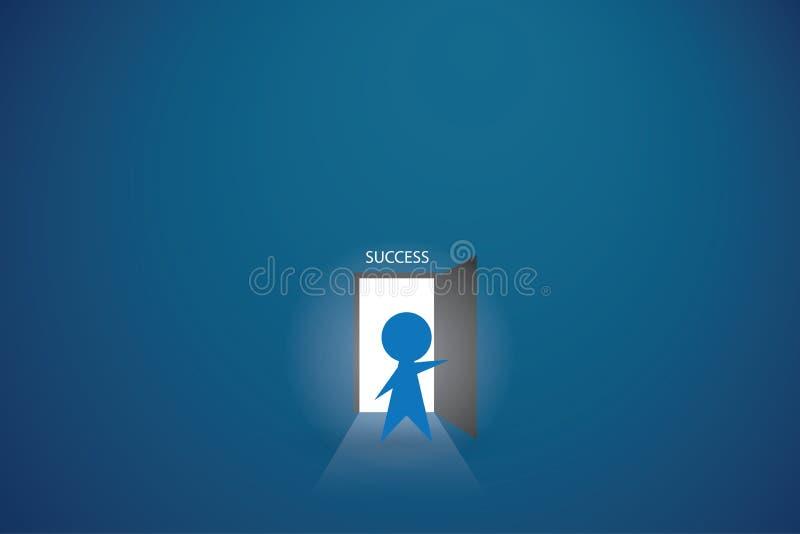 Businessman open the door to find success vector illustration