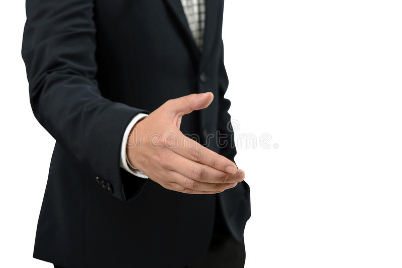 Businessman open hand for handshake to make a deal with partner isolated on white background stock images