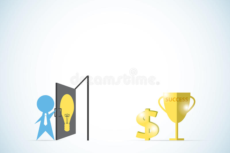Businessman open the lightbulb door to find golden trophy and dollar sign, idea and business concept stock illustration