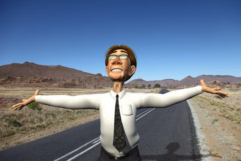 Businessman open road royalty free illustration