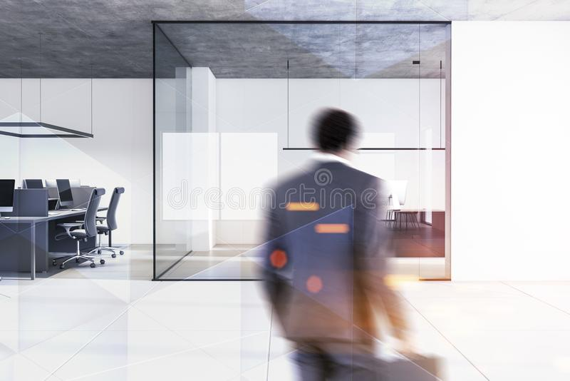 Businessman in open space and CEO office stock images