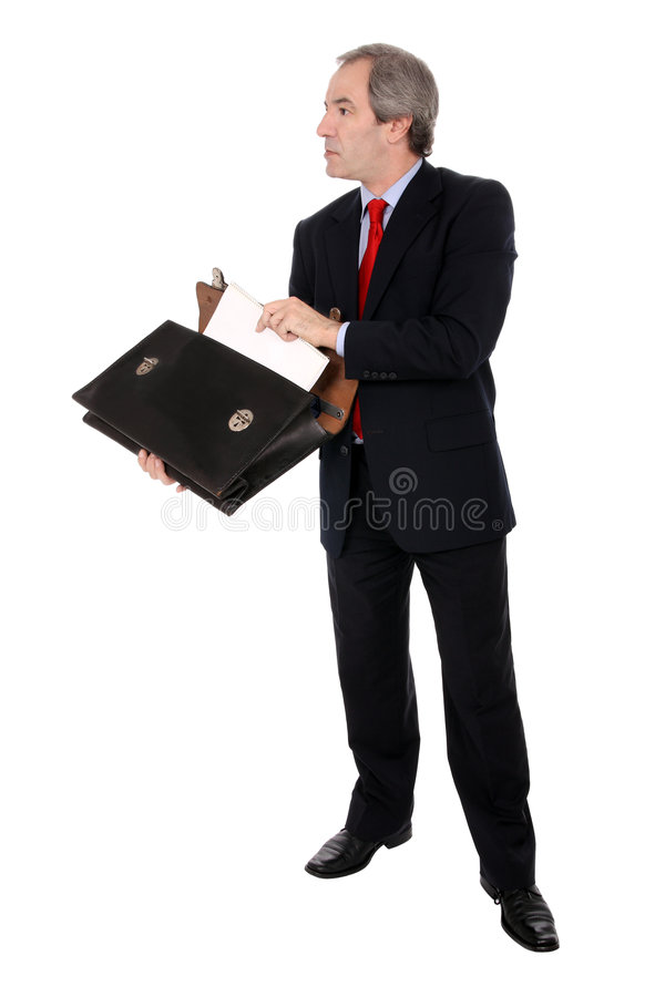 Businessman opening briefcase royalty free stock images