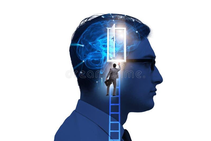 The businessman opening door to artificial intelligence. Businessman opening door to artificial intelligence stock image