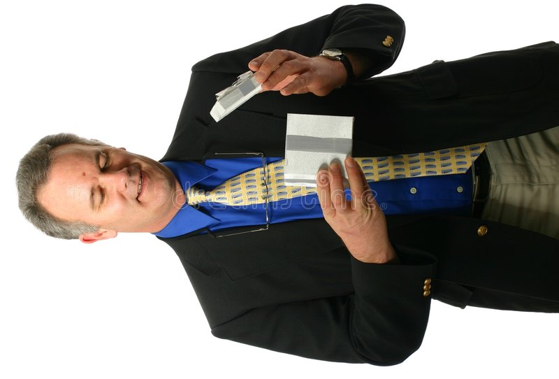 Businessman Opening A Gift Royalty Free Stock Photo