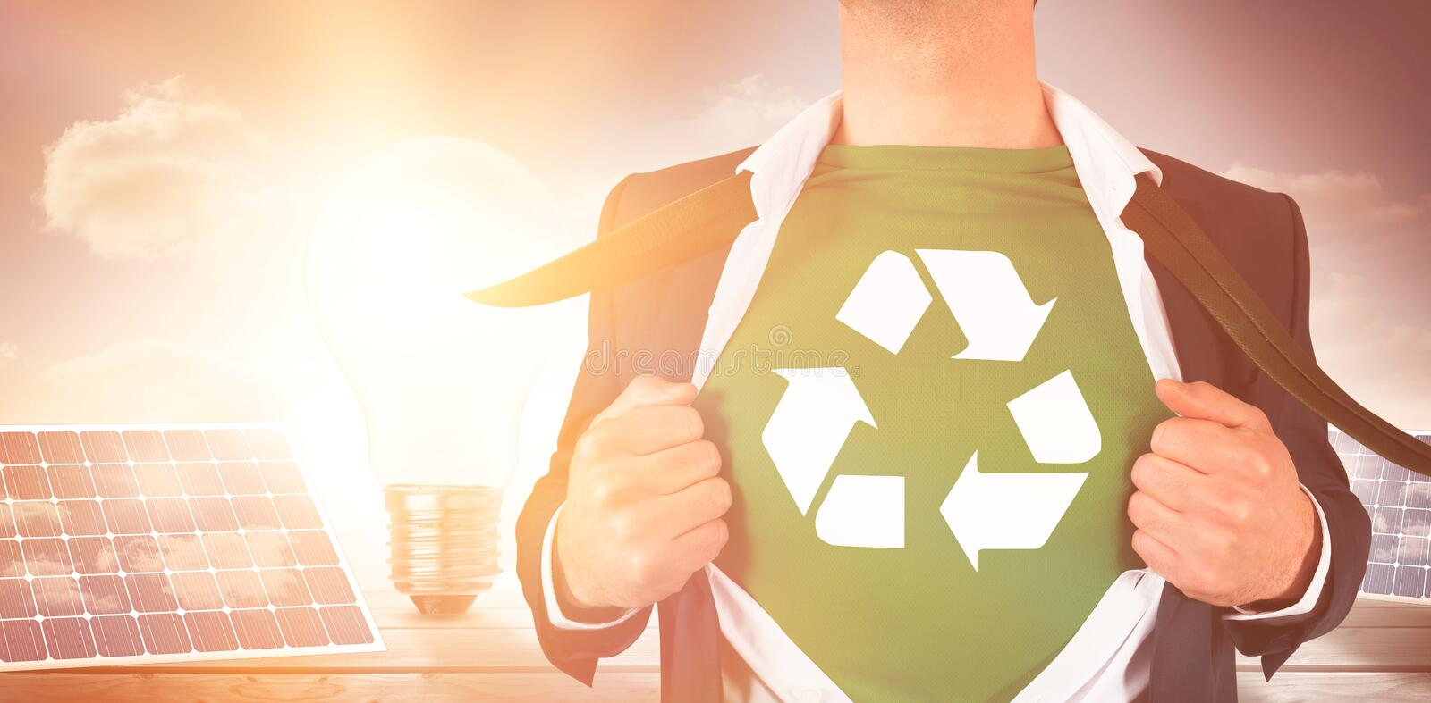 Businessman opening shirt in superhero style stock image
