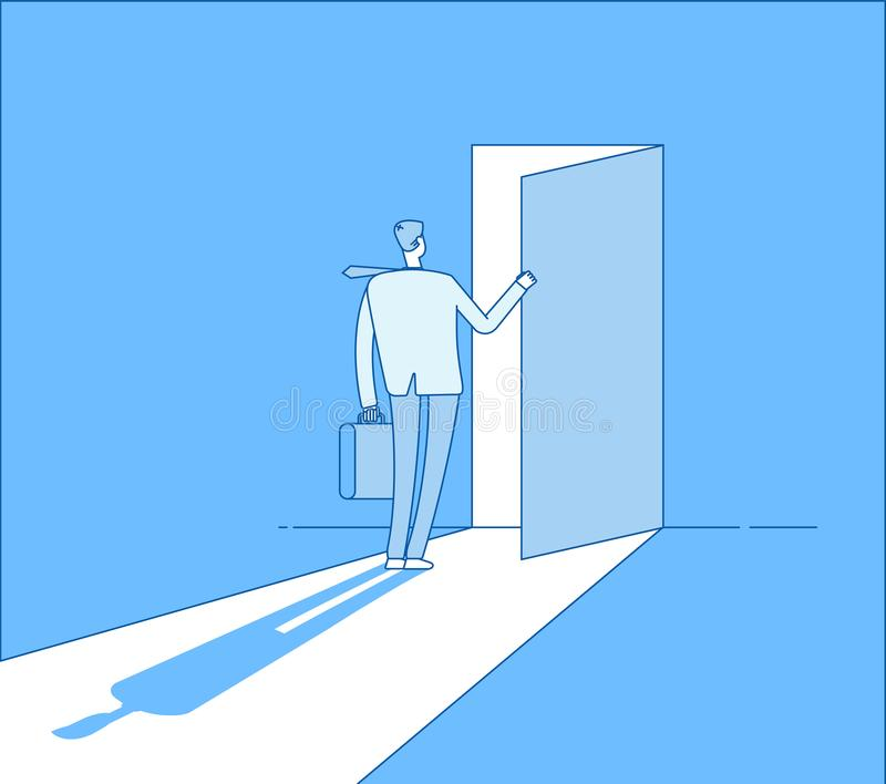 Businessman opens access. Secret door opportunity, accessible entering. Risk solution and leadership business vector royalty free illustration