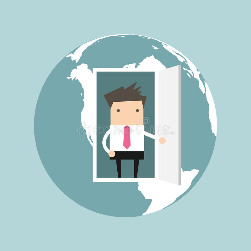 Businessman opens door from the globe vector illustration