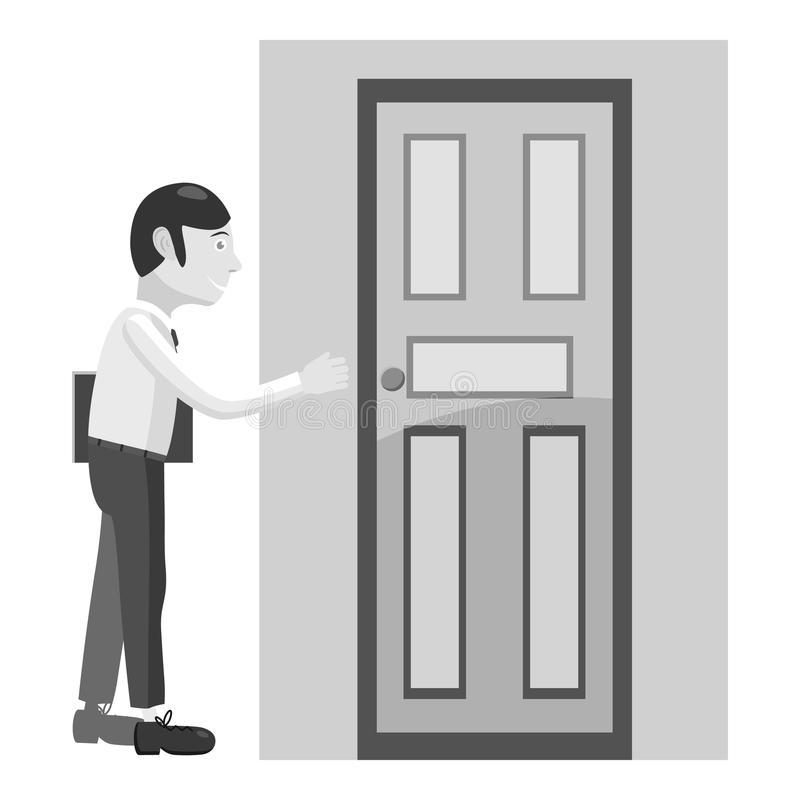 Businessman opens door icon, gray monochrome style royalty free illustration