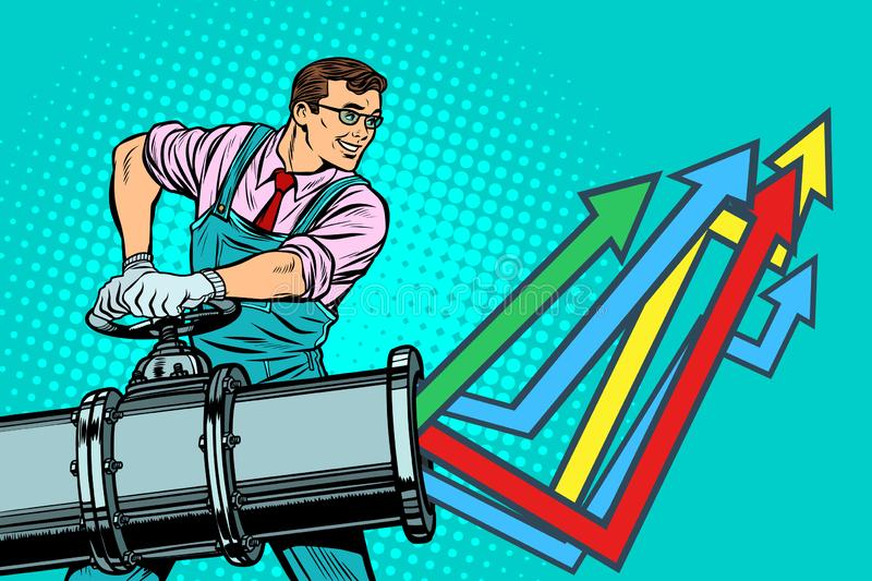 Businessman opens pipe, growth chart up stock illustration
